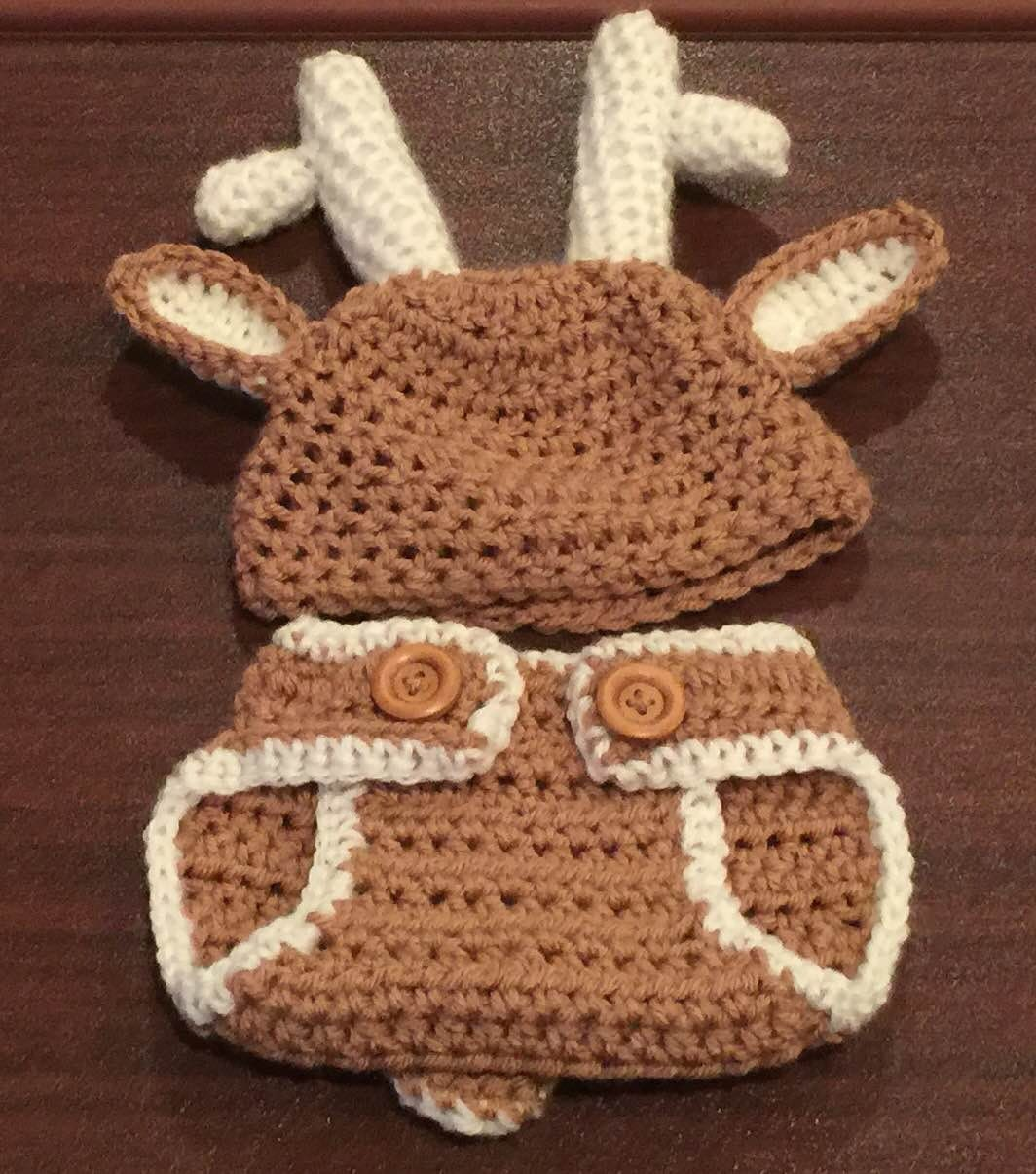 Free Crochet Deer Diaper Cover Pattern : Crochet Diaper Cover Set-Deer Hat for Baby Boy-Deer Diaper