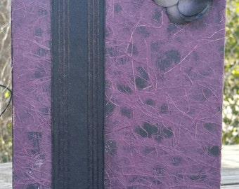 Upcycled Purple Webbed Notebook, Journal, or Sketchbook with Black Rose