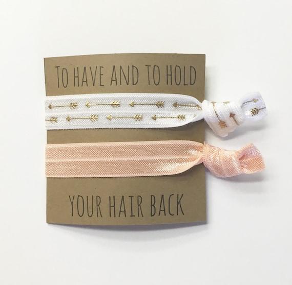 Bridesmaid hair tie favors//peach & wothe straight arrows, bridesmaid hair ties, bachelorette hair ties, wedding, bride, hair tie card, har