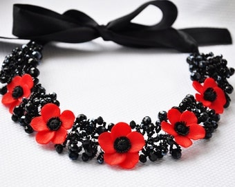 """Necklace with poppies. Maki. Decoration for girls with poppies. Necklace """"Red poppy"""". Jewelry made of polymer clay """"Red poppies""""."""