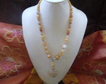 Orange natural jade long statement jewelry Neclaces