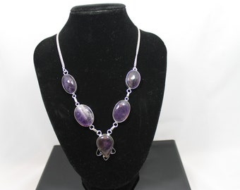 Handmade  natural amethyst sterling silver necklace pendant