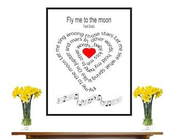 Fly me to the moon, Frank Sinatra,Typography art ,print, Original  art, Art, Music art print, Song Lyric, heart ,Spiral art,  Music