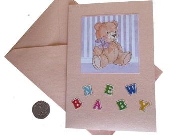 New Baby Card, Teddy Card, Card for baby boy, Card for baby girl, Teddy Orange Card, Decoupage Card