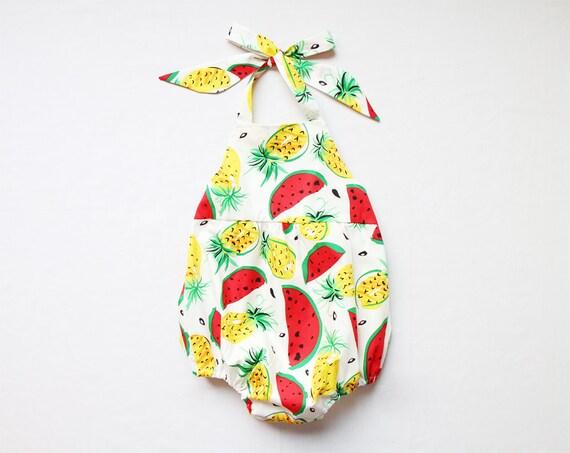 Sale fruit baby girl romper baby romper one piece pineapple watermelon