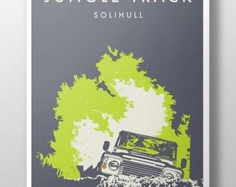 Land Rover Defender 'Jungle Track' retro vintage poster print