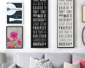 "West Hartford, CT ROADS - Framed Print - LARGE: 12""x35"" Modern Style Bus Scroll Wall Art. Black & White Typography. Local Designer!"