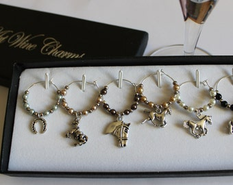 Horse lovers gift - Wine glass charms - Christmas gift