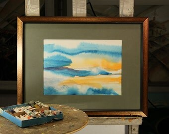 "Original ""Sunset"" water color, abstract vibrant wall art"