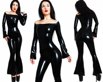 Latex Catsuit. Without a Zipper - Bell Bottoms, Flared Long Sleeves, Bare Shoulders. Made to measure Fetish, Shiny Rubber Jumpsuit, BootCut.