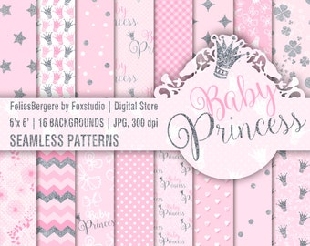 Baby Girl Digital Paper Pack Pink Grey Backgrounds Princess Baby Shower Girl Cute Dots Silver Glitter Stars Crown Pink Hearts Cloves Flowers