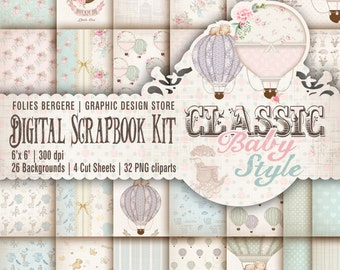Vintage Baby Scrapbook Kit Baby Digital Paper Pack Shabby Baby Printable Backgrounds Tags Cute Baby Air Balloons Vintage Toys ClipArt DIY