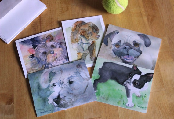 Small Dog Variety Pack-5 Blank Note Cards-Watercolor Cards-Includes: Yorkshire Terrier, Cocapoo, Pug, Boston Terrier, and Westie/Bichon Mix
