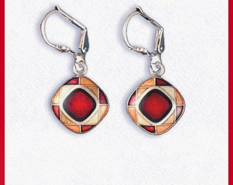 Pierced ears red or green or blue square, enamelled