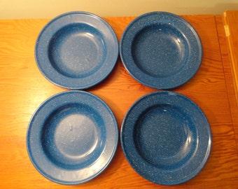 Set Of 4 Blue Speckled Enamelware Bowls