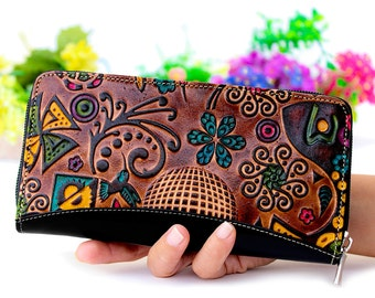 Cell phone wallet, leather wallet, Handpainted wallet, cell phone case, leather purses, original  womens wallet painted with butterflies