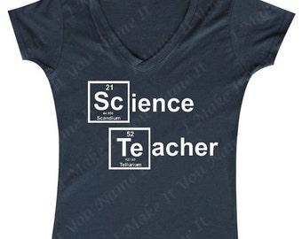 Science Teacher Element (white text) - Ladies' V-neck