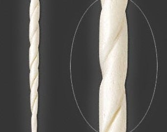 White Hair Stick, Bone Hair Stick, Carved Twist Hair Stick, 4-1/2 inch, 2 each, D605