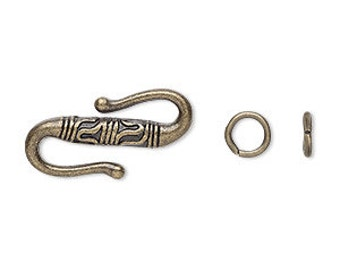 Gold Clasp, Antiqued, S-Hook Clasp, 22x11mm, 4 each, D732