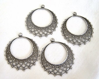 Hoop Drop, filigree hoop, antiqued silver, filigree chandelier, 25mm, 4 each, D279