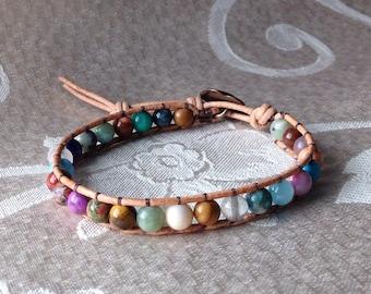 Leather Cord Beaded Bracelet, Beaded Wrap Bracelet, Multi-Gemstone Beaded Bracelet