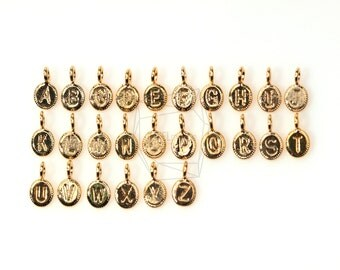 """PDT-343-G/5Pcs-Coin Initial """"A~Z""""/Round Initial Pendant/ 4.5mm x 6.5mm /Matte Gold Plated over brass,Matte Rhodium Plated over brass"""