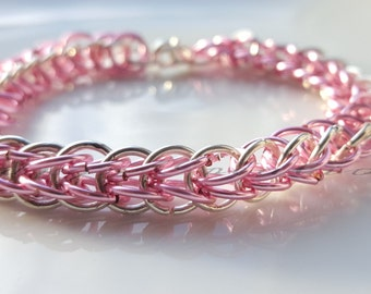 Bracelet Silver And Pink Half Persian Chainmaille Bracelet