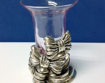 Vintage Pewter Glass Candle Holder by Argento