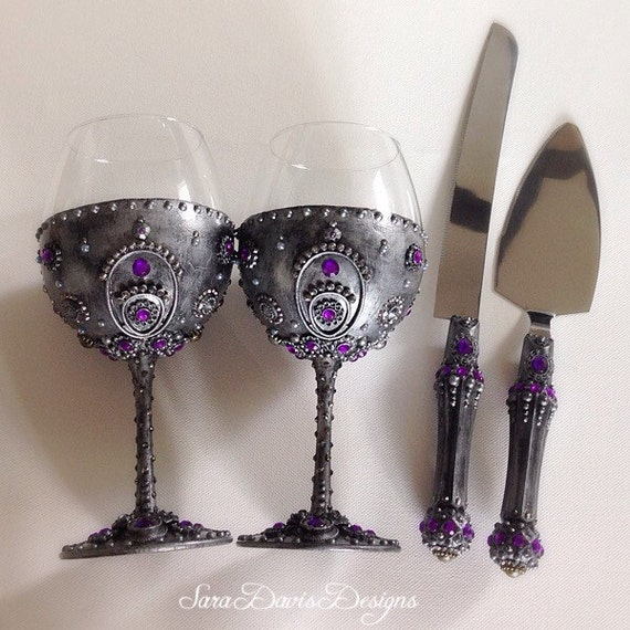 gothic wedding cake knife wine glasses cake serving set goblet 14878