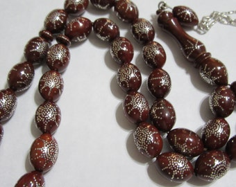 Prayer Beads-Coco-Kuka-Rosary-masbaha-tasbih33 oval sterling silver  inlaid النارجيل