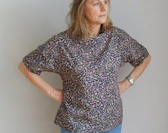 Liberty print T shirt top with kimono sleeves