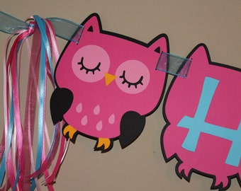 Owl Happy Birthday Banner, Owl Theme Banner, Owl Birthday Banner, Owl Baby Shower