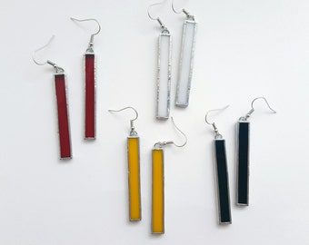 Glass earrings-Mondrian-yellow-red-black-white-geometrical-modern-hipster