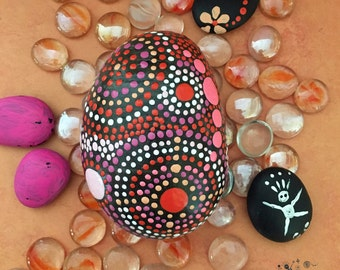 Rock Art, Painted Rock, Mandala Design, Natural Home Decor, Nature Art, One-of-a-Kind Gift, FREE SHIPPING, pink persuasion collection #21