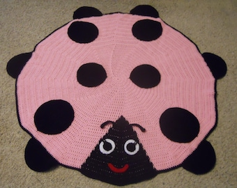 New Handmade Pink & Black Ladybug Lady Bug Baby Girl Afghan Blanket or Rug