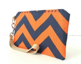 Navy blue/Orange/white chevron wristlet/bag/pouch/handbag/purse with gold flecked sparkle wrist strap