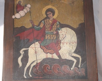 Antique Continental Icon oil painting Saint George slaying the dragon circa 1800's or before