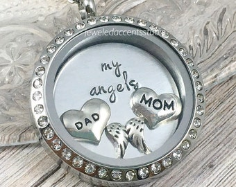Loss Of Parents Gift, Floating Locket, Parents Memorial Jewelry, In Memory Of Mom And Dad, My Angels, Hand Stamped Locket, Remebrance Gifts
