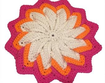 Orange and Pink Hot Pad, Orange and Pink Potholder, Crochet Potholder, Crochet Hot Pad, Pot Holder, Hotpad