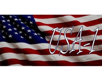 USA-1 On U.S. Flag Photo License Plate - LPO2814