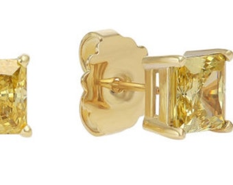 Vivid Yellow CZ Stud Earrings