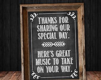Music Favor Chalkboard Wedding Sign - Instant Digital Download