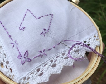 PDF Pattern for Embroidered Handkerchief: Initial M