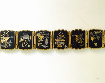 1950s Japanese Damascene Bracelet / Gold Plated Etched 14 Panel.
