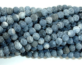 Frosted Matte Agate - Gray, 6 mm Round Beads, 14 Inch, Full strand, Approx 63 beads, Hole 1 mm (122054179)
