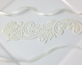 Ivory Venise Lace 'Julieta' Wedding Headband for Brides or Bridesmaids with Floral Swirl Design