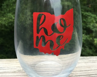 "Ohio ""home"" stemless wineglass"