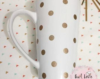 Polkadots- 16 oz Latte Mug- Coffee Mug- Custom Mug- Personalized Coffee Mug