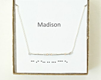 Custom Morse Code Necklace Sterling Silver, Morse Code Name Necklace, Customized Morse Code Necklace, Secret Message Necklace, Personalized