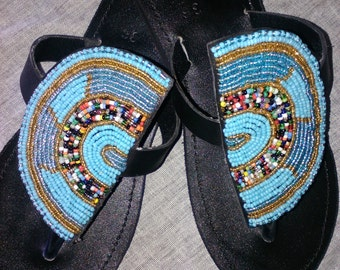 Samba - Real Leather Handmade Beaded Kenyan Sandals, Flip Flops, Thongs